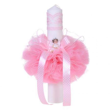 Trusou botez in landou decor floricele si lumanare cu ingeras, decor roz Denikos® 115