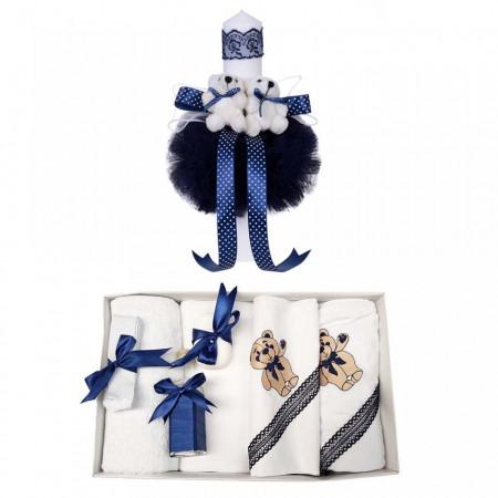 Poze Trusou botez ursulet si lumanare pentru baietel, decor bleumarin, Denikos® 98