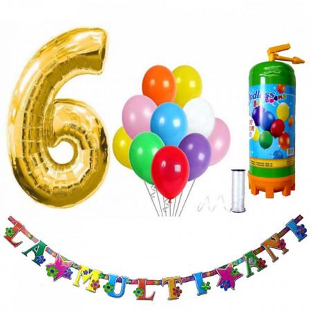 Butelie heliu, cifra 6 balon folie, banner si 10 baloane latex