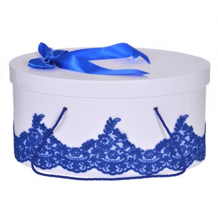 Cutie trusou botez dantela albastra, eleganta si o fundita asortata, Denikos® 820