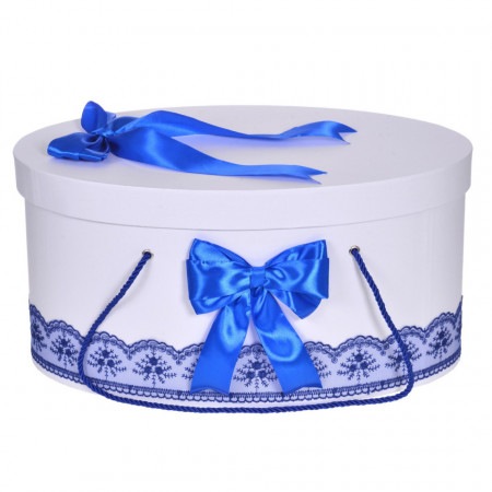 Cutie trusou botez dantela albastra si fundite asortate, Denikos® 810