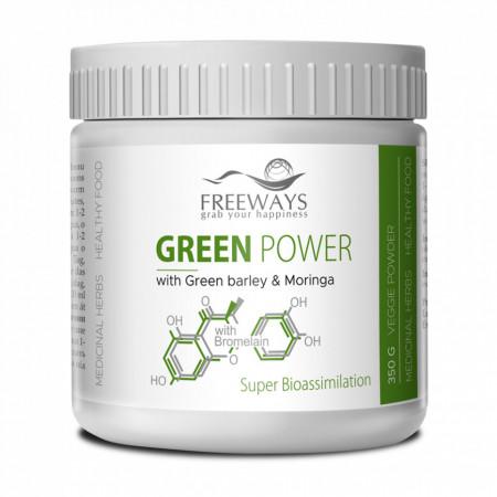 GREEN POWER cu Bromelaina, boost de nutrienti, 350 gr