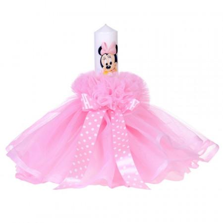 Lumanare botez baby girl, rochita light pink si fundita cu buline, Denikos® 82