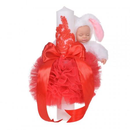 Lumanare botez jucarie iepuras pufos si dantela, decor rosu, Denikos® 715