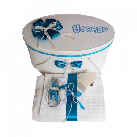 Poze Set cutie trusou personalizata cu nume si trusou botez, decor turcoaz Denikos® 238