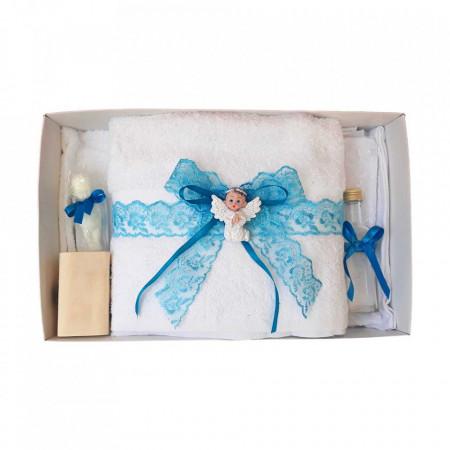 Set dantela trusou botez, cutie trusou si lumanare, Ingeras, decor turcoaz, Denikos® 478