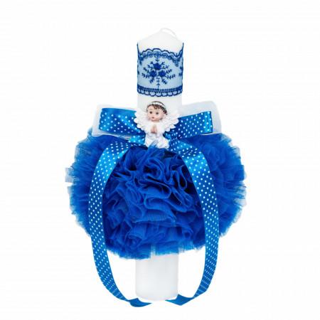 Set trusou botez, cutie trusou si lumanare, dantela si Ingeras, decor Albastru, Denikos® 562
