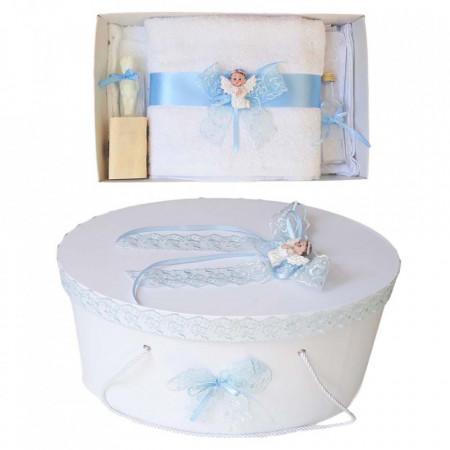 Set trusou botez si cutie trusou, Ingeras, dantela bleu, Denikos® 446