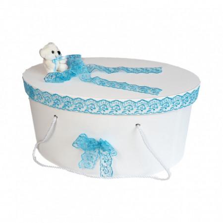 Set Ursuleti trusou botez, cutie trusou si lumanare, decor Turcoaz, Denikos® 580