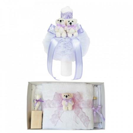 Trusou botez cu ursulet si lumanare glob, dantela si ursuleti, decor lila, Denikos® 603