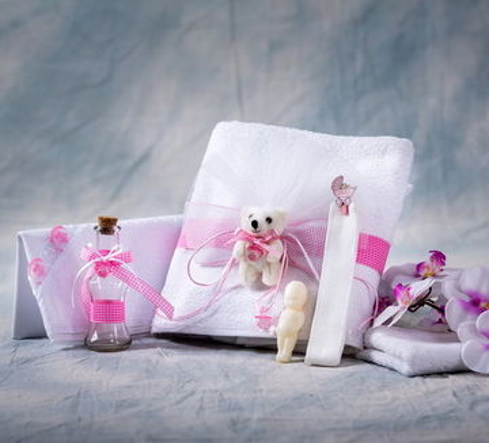 Trusou botez ursuleti si suzete roz NK015