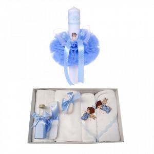 Trusou botez cu ingeras si lumanare pentru baietel, decor bleu, Denikos® 99