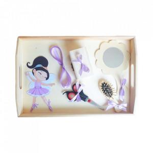 Set tavita mot simpla, fetita 1 an, fundite lila, decor balerina, Denikos® 207