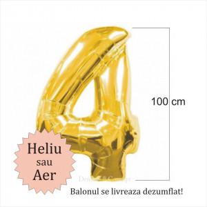 Balon folie cifra 4 auriu