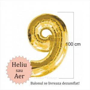 Balon folie cifra 9 auriu