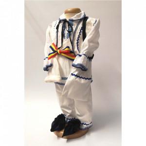 Costum national botez baiat, broderie Albastra, Denikos® 677
