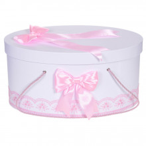Cutie trusou botez dantela roz si fundite asortate, Denikos® 811
