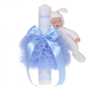 Lumanare botez cu iepuras, personalizata si trusou botez in landou, decor dantela Bleu, Denikos® 877