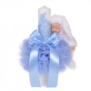 Lumanare botez cu iepuras pufos si trusou botez in landou, decor dantela Bleu, Denikos® 859