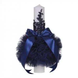 Lumanare botez eleganta cu tul, dantela si fundita, decor bleumarin, Denikos® 706