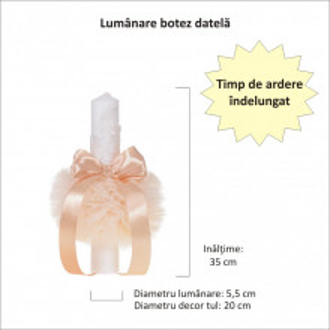 Lumanare botez eleganta cu tul, dantela si fundita, decor crem / ivoire, Denikos® 711