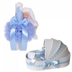 Lumanare botez glob iepuras pufos si trusou botez in landou, decor Bleu cu floricele, Denikos® 766