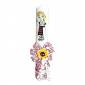 Lumanare botez pentru fetita, decorata traditional, Denikos® 667