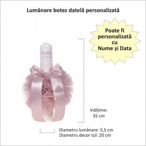 Lumanare botez personalizata, decor roz pudra cu tul si dantela, Denikos® 721