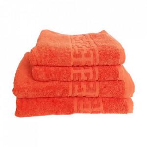 Set 4 prosoape groase si pufoase, bumbac, model grecesc, Orange, Denikos® 290