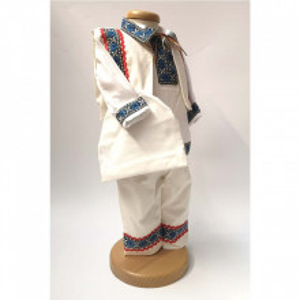 Set botez traditional baietel, trusou botez landou, lumanare si costum popular baiat, Denikos® 963