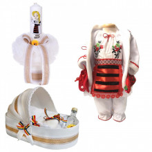 Set botez traditional fetita, trusou botez landou, lumanare si costum traditional, Denikos® 977