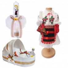 Set botez traditional fetita, trusou botez landou, lumanare si costum traditional, Denikos® 985