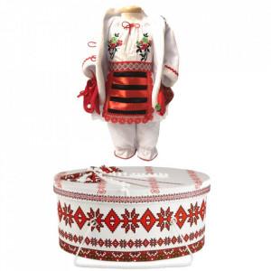Set costum botez traditional fetita si cutie trusou asortata, Denikos® 996