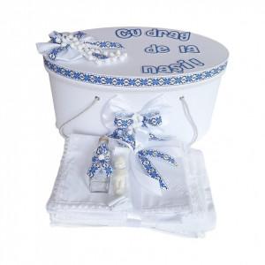 Set cutie trusou personalizata si trusou botez, decor traditional, albastru, Denikos® 228