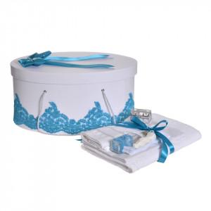 Set elegant trusou botez, cutie trusou si lumanare iepuras pufos, dantela si fundite, decor Turcoaz, Denikos® 933