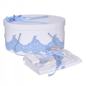 Set elegant trusou botez, cutie trusou si lumanare personalizata cu nume, decor dantela Bleu cu iepuras, Denikos® 949