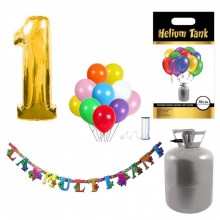 Set party butelie heliu, balon cifra 1 folie, banner si 10 baloane latex