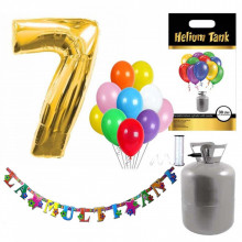 Set party butelie heliu, balon cifra 7 folie, banner si 10 baloane latex