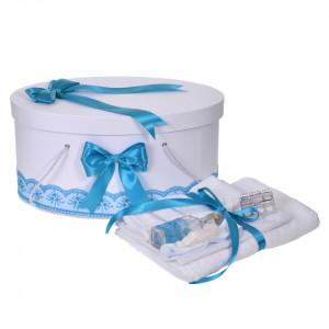 Set trusou botez, cutie trusou si lumanare personalizata cu nume, decor Turcoaz cu iepuras, Denikos® 915