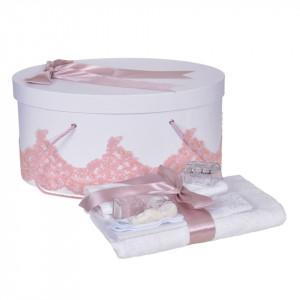 Set trusou botez si cutie trusou, dantela si fundita, decor elegant Roz pudra, Denikos® 851