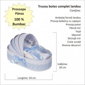 Trusou botez complet, in landou, decor dantela bleu, Denikos® 832