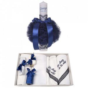 Trusou botez cu mesaj si lumanare botez personalizata, decor bleumarin, Denikos® 786