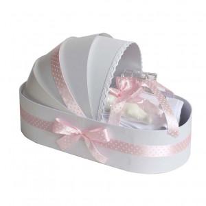 Trusou botez in landou si lumanare cu floricele, decor roz Denikos® 105