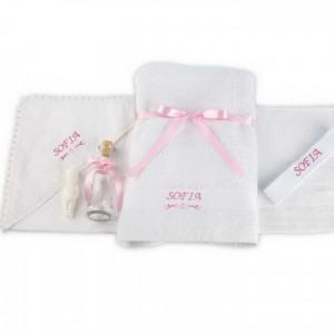 Trusou botez personalizat cu numele copilasului brodat semn grafic roz NKB007