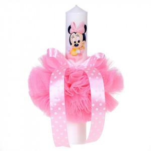 Lumanare botez baby girl, glob tul roz si fundita cu buline, Denikos® 84