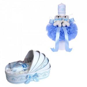 Trusou botez in landou si lumanare glob cu ursuleti, decor bleu Denikos® 155