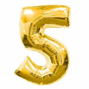 Balon folie cifra 5 auriu