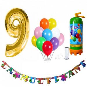 Butelie heliu, cifra 9 balon folie, banner si 10 baloane latex