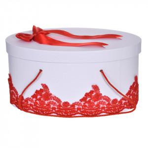 Cutie trusou botez dantela rosie, eleganta si o fundita asortata, Denikos® 822