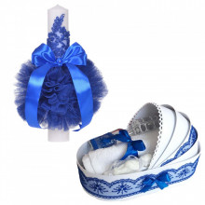 Lumanare botez glob cu dantela si trusou botez in landou, decor Albastru, Denikos® 750